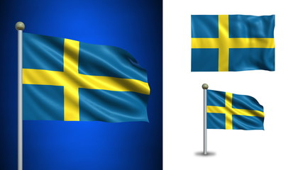 Sweden flag - with Alpha channel, seamless loop!