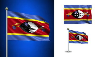 Swaziland flag - with Alpha channel, seamless loop!
