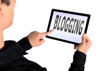 isolated man blogging