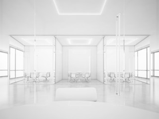 White office space with meeting rooms. 3D rendering