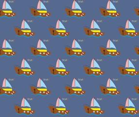Бесшовный фон с корабликом