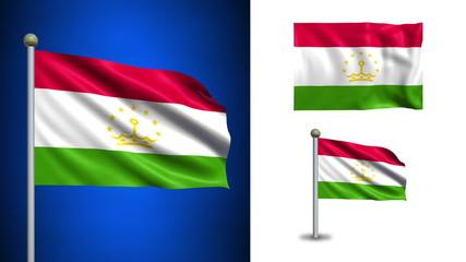 Tajikistan flag - with Alpha channel, seamless loop!
