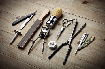 Vintage tools of barber shop on wood desk