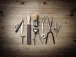 Leinwanddruck Bild - Vintage equipment of barber shop on wood background