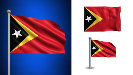 East Timor flag - with Alpha channel, seamless loop!
