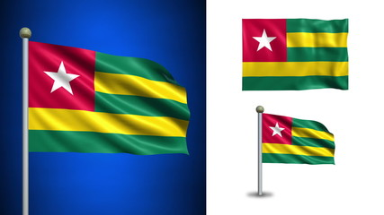 Togo flag - with Alpha channel, seamless loop!