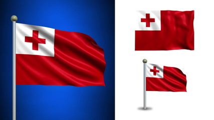 Tonga flag - with Alpha channel, seamless loop!