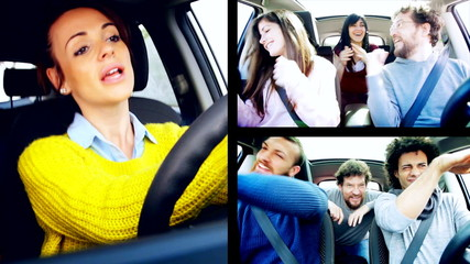 Happy people dancing in car split screen