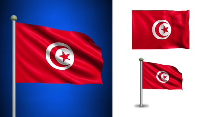 Tunisia flag - with Alpha channel, seamless loop!