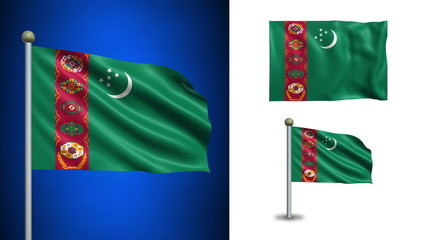 Turkmenistan flag - with Alpha channel, seamless loop!