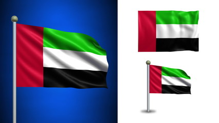 United Arab Emirates flag - with Alpha channel, seamless loop!