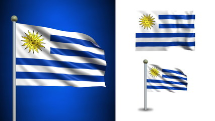 Uruguay flag - with Alpha channel, seamless loop!