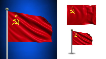 USSR - Soviet  Union flag - with Alpha channel, seamless loop!
