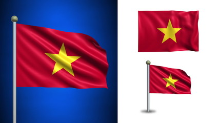 Vietnam flag - with Alpha channel, seamless loop!