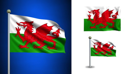 Wales flag - with Alpha channel, seamless loop!