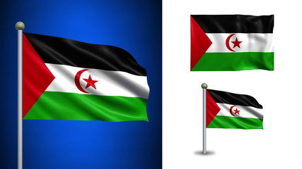 Western Sahara flag - with Alpha channel, seamless loop!
