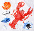 Seafood watercolor cancer, caviar, mussels, shrimp - 81778552