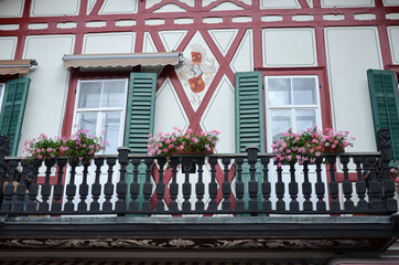 Historic half-timbered house in Lucerne, Switzerland