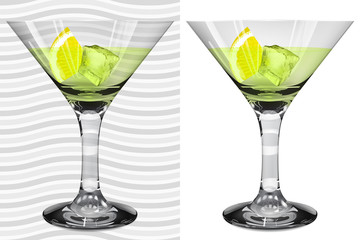 Transparent and opaque realistic glasses with martini and lemon