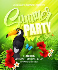 Summer party. Template poster. Vector illustration