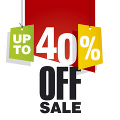 Sale up to 40 percent off red background