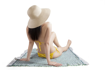 Back view model with bikini in studio