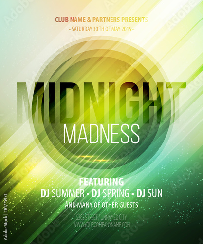 Midnight Madness Party. Template poster. Vector illustration - 81779171