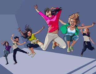 cartoon happy girls jumping