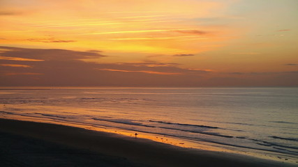 Beautiful daybreak beach view from on high