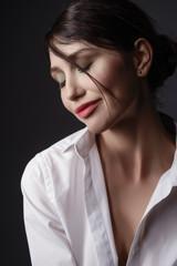 Beauty portrait of a sensual brunette model