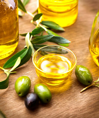Olives and olive oil. Bottle of virgin olive oil
