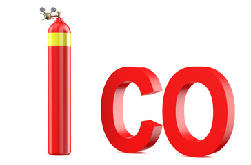 gas cylinder with Carbon monoxide with pressure regulator and re