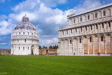Cathedral and Baptistry at the Leaning Tower of Pisa, Italy