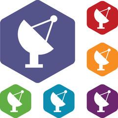 Satellite antenna rhombus icons