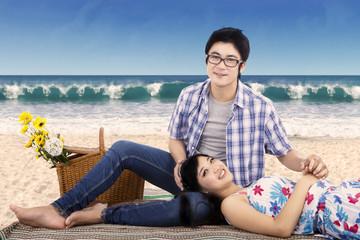 Lovely couple at seashore