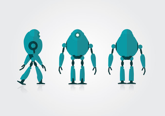 Movable 3 views vector robot on the gray background.