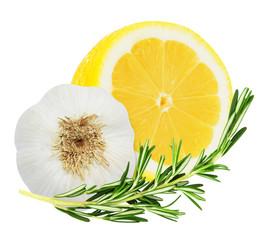 Lemon with rosemary and garlic isolated on white background