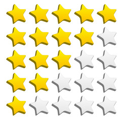 3d rounded star rating for rating, valuation, review concepts. V
