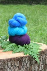 Dyed Sheep Wool Fiber Samples