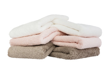 Bath towels isolated over white