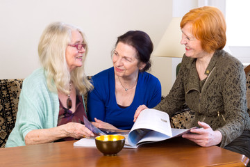 Middle Age Women Friends Talking at Living Area.