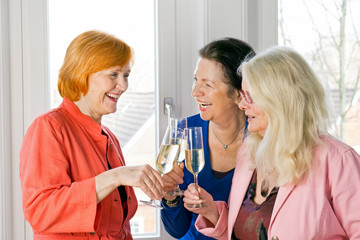 Happy Adult Women Friends Tossing Glasses of Wine.