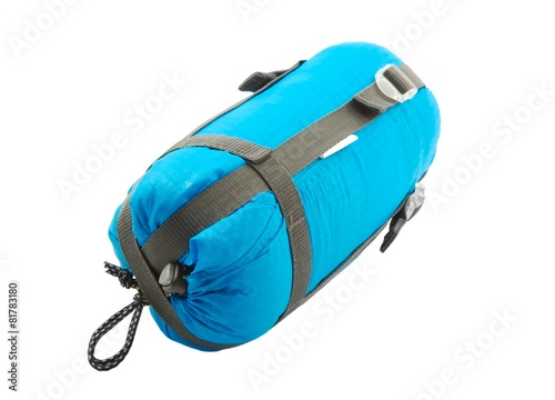 Foto op Canvas Kamperen Sleeping bag packed