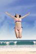 Woman wearing swimwear enjoy freedom