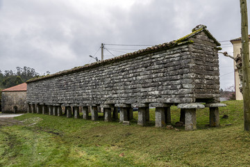 Typical horreo granary in Bainas