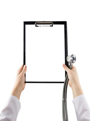 Female doctor's hand holding medical clipboard with blank sheet