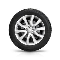Automotive wheel on gray light alloy disc isolated