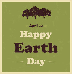 Happy Earth Day poster with tree. Vector illustration.