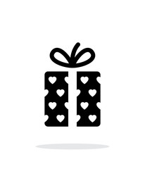 Gift box with hearts icons on white background. Vector