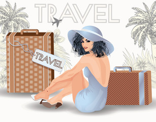 Summer travel beauty girl pin up, vector illustration